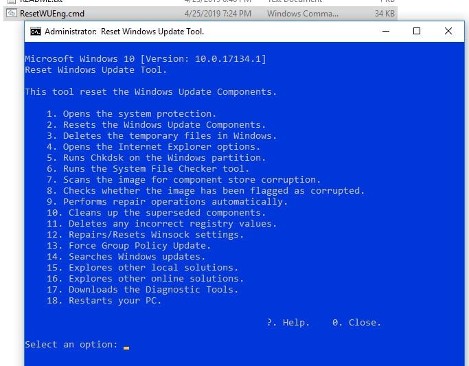 утилита сброса настроек обновлений Reset Windows Update Agent